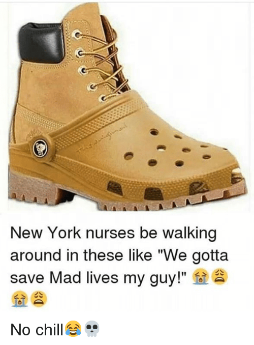 """No chill: New York nurses be walking  around in these like """"We gotta  save Mad lives my guy!""""  fo  > 소 No chill😂💀"""