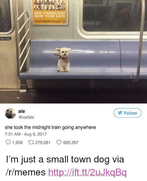 "Lean, Memes, and New York: NEW YORKERS KEEP  NEW YORK SAFE  lean on door  ale  @oafale  У Follow  she took the midnight train going anywhere  7:31 AM - Aug 6, 2017  1,939  276,081  695,267 <p>I'm just a small town dog via /r/memes <a href=""http://ift.tt/2uJkqBq"">http://ift.tt/2uJkqBq</a></p>"