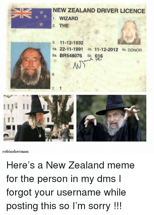 Ironic, Meme, and Sorry: NEW ZEALAND DRIVER LICENCE  1. WIZARD  2. THE  3. 11-12-1932  4a. 22-11-1991 4b 11-12-2012 4c. DONOR  5a. BR548076 5b. 016  6.  7. 1  robinsherman Here's a New Zealand meme for the person in my dms I forgot your username while posting this so I'm sorry !!!