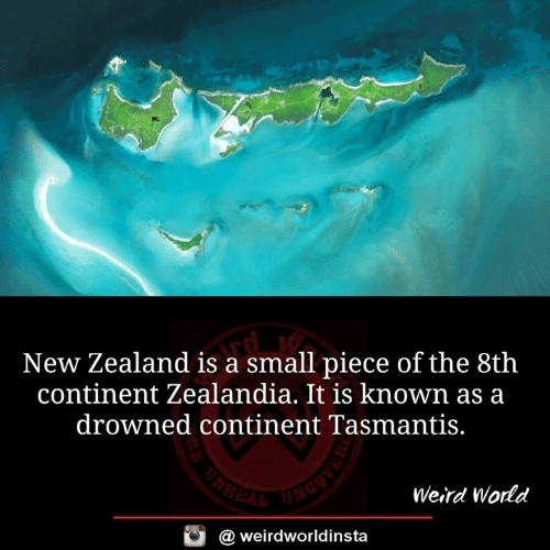 Drowned: New Zealand is a small piece of the 8th  continent Zealandia. It is known as a  drowned continent Tasmantis.  Weird World  @ weirdworldinsta