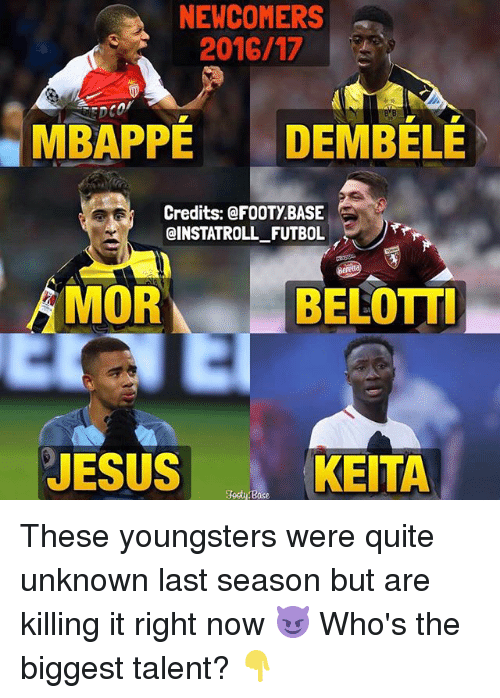 Jesus, Memes, and Quite: NEWCOMERS  2016/17  MBAPPE DEMBELE  Credits: @FOOTY BASE  QINSTATROLL FUTBOL  MOR  BELOTTI  JESUS  KEITA These youngsters were quite unknown last season but are killing it right now 😈 Who's the biggest talent? 👇