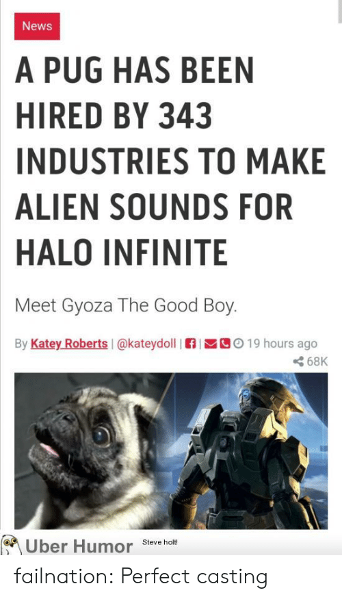 Halo: News  A PUG HAS BEEN  HIRED BY 343  INDUSTRIES TO MAKE  ALIEN SOUNDS FOR  HALO INFINITE  Meet Gyoza The Good Boy.  By Katey Roberts I@kateydoll  C019 hours ago  68K  Uber Humor  Steve holt! failnation:  Perfect casting