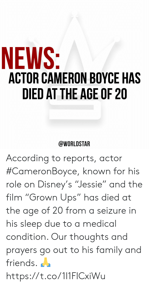 "cameron: NEWS:  ACTOR CAMERON BOYCE HAS  DIED AT THE AGE OF 20  @WORLDSTAR According to reports, actor #CameronBoyce, known for his role on Disney's ""Jessie"" and the film ""Grown Ups"" has died at the age of 20 from a seizure in his sleep due to a medical condition. Our thoughts and prayers go out to his family and friends. 🙏 https://t.co/1I1FICxiWu"