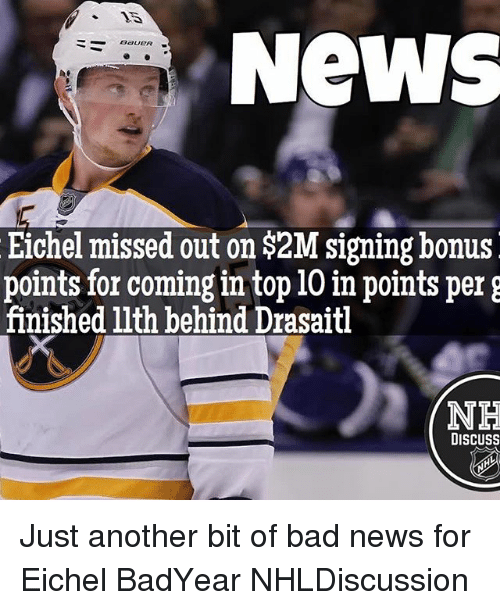 discussion: NeWS  BaueR  Eichel missed out on 2M signing bonus  points for coming in top 10 in points per g  finished llth behind Drasaitl  NH  DISCUSS Just another bit of bad news for Eichel BadYear NHLDiscussion