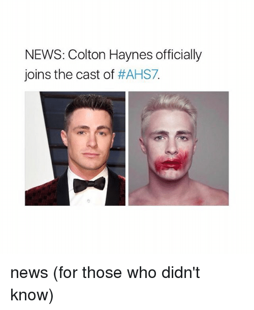 Colton: NEWS: Colton Haynes officially  joins the cast of  news (for those who didn't know)