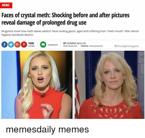 """Memes, News, and Pictures: NEWS  Faces of crystal meth: Shocking before and after pictures  reveal damage of prolonged drug use  Mugshots show how meth leaves addicts' faces looking gaunt, aged and suffering from """"meth mouth"""" after dental  hygiene standards decline  1008  BY GEMMA MULLIN  COMMENTS  estockphotogasm  SHARES  09:39, 28 JAN 2016  UPDATED 10:08, 28 JAN 2016 memesdaily memes"""