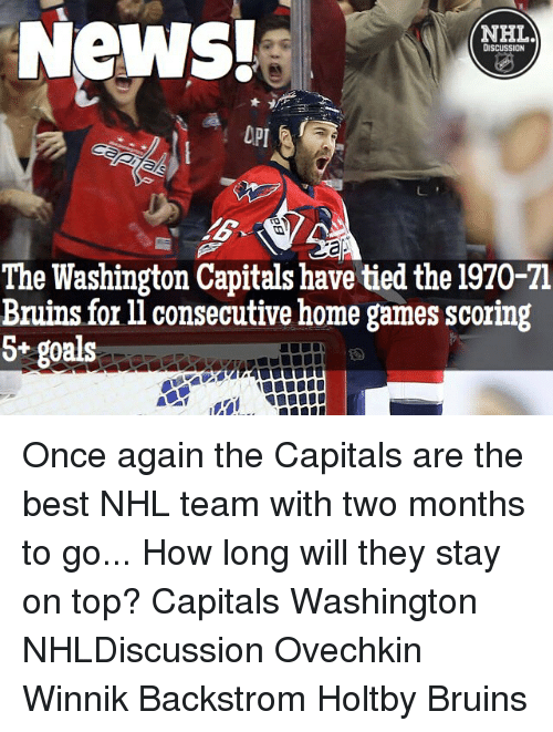 washington capital: News!  NHLA  DISCUSSION  The Washington Capitals have tied the 1970-71  Bruins for ll consecutive home games scoring  S+ goals Once again the Capitals are the best NHL team with two months to go... How long will they stay on top? Capitals Washington NHLDiscussion Ovechkin Winnik Backstrom Holtby Bruins