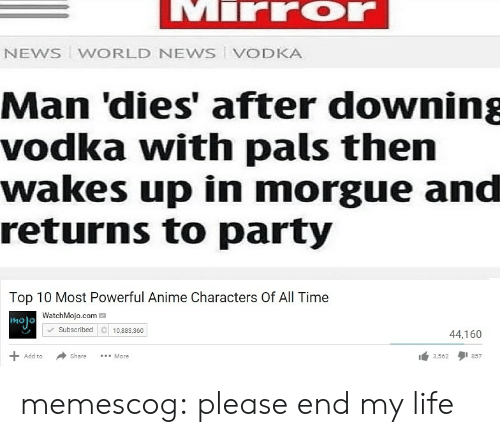 Watchmojo Com: NEWS WORLD NEWS VODKA  Man 'dies' after downing  vodka with pals then  wakes up in morgue and  returns to party  Top 10 Most Powerful Anime Characters Of All Time  WatchMojo.com  molo  Subscribed 10.883.360  44,160  Share More  3,5621 857  Add to memescog:  please end my life