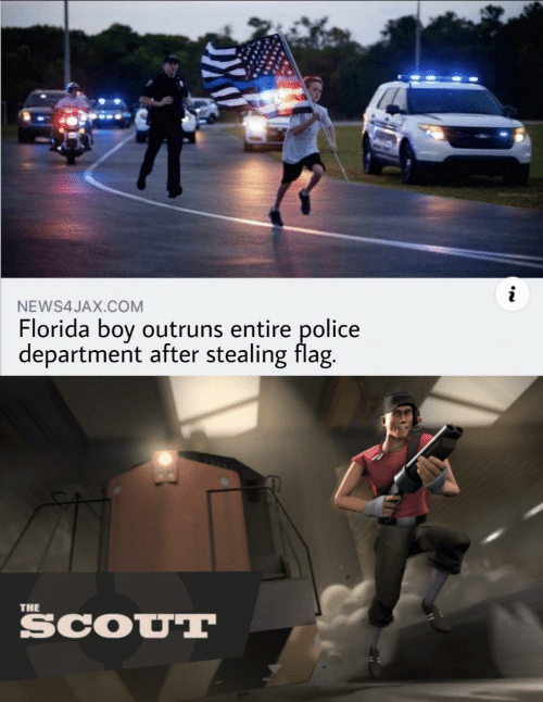 police department: NEWS4JAX.COM  Florida boy outruns entire police  department after stealing flag.  THE  SCOUT