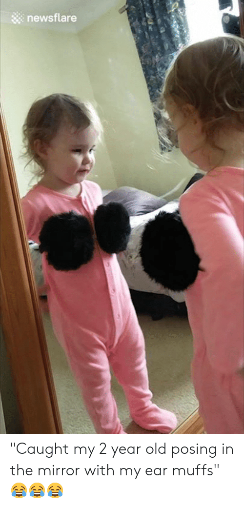 """2 Year Old: newsflare """"Caught my 2 year old posing in the mirror with my ear muffs"""" 😂😂😂"""