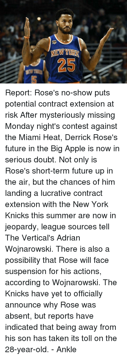 Apple, Derrick Rose, and Jeopardy: NEWTIR  LD  の$1 Report: Rose's no-show puts potential contract extension at risk  After mysteriously missing Monday night's contest against the Miami Heat, Derrick Rose's future in the Big Apple is now in serious doubt.  Not only is Rose's short-term future up in the air, but the chances of him landing a lucrative contract extension with the New York Knicks this summer are now in jeopardy, league sources tell The Vertical's Adrian Wojnarowski.  There is also a possibility that Rose will face suspension for his actions, according to Wojnarowski.  The Knicks have yet to officially announce why Rose was absent, but reports have indicated that being away from his son has taken its toll on the 28-year-old.  - Ankle