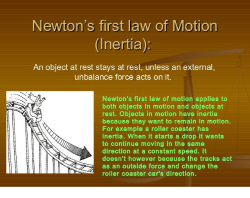 newtons first law of motion inertia an object at rest