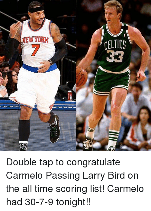 Celtic: NEWYORK  CELTICS  33 Double tap to congratulate Carmelo Passing Larry Bird on the all time scoring list! Carmelo had 30-7-9 tonight!!
