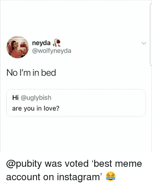 Instagram, Love, and Meme: neyda  @wolfyneyda  No I'm in bed  Hi @uglybish  are you in love? @pubity was voted 'best meme account on instagram' 😂