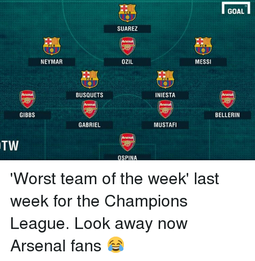 Arsenal, Goals, and Memes: NEYMAR  GIBBS  TW  BUSQUETS  GABRIEL  SUAREZ  OZIL  OSPINA  INIESTA  MUSTAFI  GOAL  MESSI  BELLERIN 'Worst team of the week' last week for the Champions League. Look away now Arsenal fans 😂