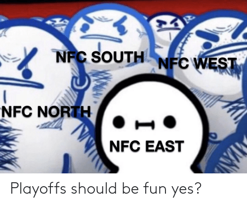 nfc east: NFC SOUTH NFC WEST  NFC NORTH  NFC EAST Playoffs should be fun yes?