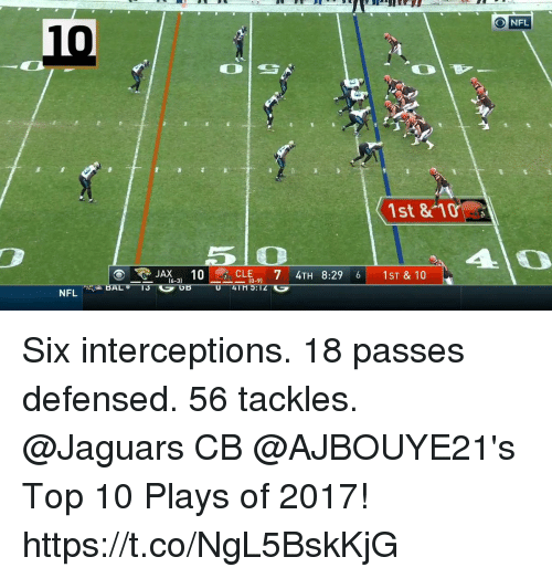 Memes, Nfl, and 🤖: NFL  10  1st &10  5 O  CLE 7 4TH 8:29 6 1ST & 10  (0-9)  NFL Six interceptions. 18 passes defensed.  56 tackles.  @Jaguars CB @AJBOUYE21's Top 10 Plays of 2017! https://t.co/NgL5BskKjG