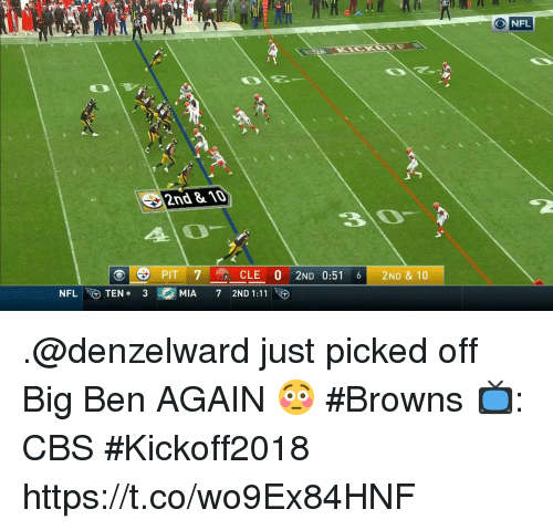 Memes, Nfl, and Cbs: NFL  2nd &10  30  PIT 7  CLE 0 2ND 0:516 2ND & 10  NFL-to  TEN. 3  MIA  72ND 1:11 .@denzelward just picked off Big Ben AGAIN 😳 #Browns  📺: CBS #Kickoff2018 https://t.co/wo9Ex84HNF