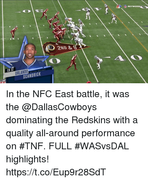 nfc east: NFL  2ND &  CB 32  ORLANDO  SCANDRICK In the NFC East battle, it was the @DallasCowboys​ dominating the Redskins​ with a quality all-around performance on #TNF.  FULL #WASvsDAL highlights! https://t.co/Eup9r28SdT