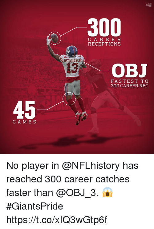 Memes, Nfl, and Game: NFL  300  C A RE E R  RECEPTIONS  BECKHAWR  13  OBJ  FASTEST T O  300 CAREER REC  45  GAME S No player in @NFLhistory has reached 300 career catches faster than @OBJ_3. 😱  #GiantsPride https://t.co/xIQ3wGtp6f