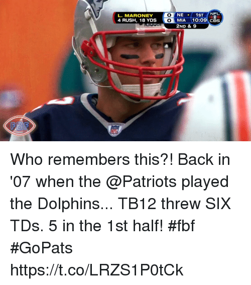 Memes, Nfl, and Patriotic: NFL  4 RUSH, 18 YDS  CBS  2ND & S9 Who remembers this?! Back in '07 when the @Patriots played the Dolphins... TB12 threw SIX TDs. 5 in the 1st half! #fbf #GoPats https://t.co/LRZS1P0tCk