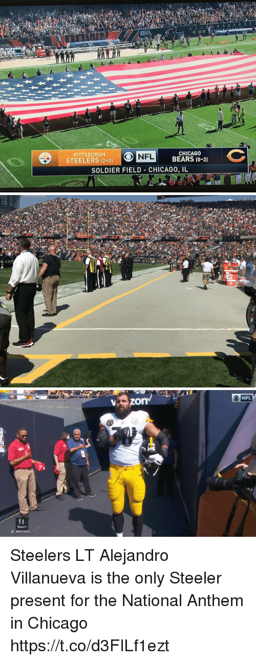 Chicago, Chicago Bears, and Nfl: NFL  -51 43  23  PITTSBURGH  STEELERS (2-0)  CHICAGO  BEARS (0-21  NFL  SOLDIER FIELD CHICAGO, IL   23  DOWN   ONFL  MarcusD2 Steelers LT Alejandro Villanueva is the only Steeler present for the National Anthem in Chicago https://t.co/d3FILf1ezt