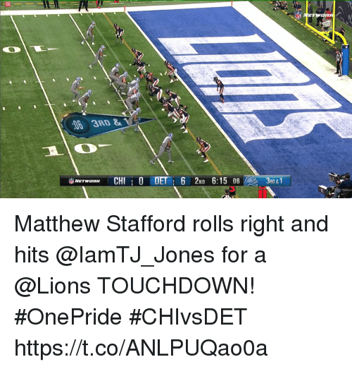 Memes, Nfl, and Lions: NFL  6 3RD&  ND 6  3RD&  3 Matthew Stafford rolls right and hits @IamTJ_Jones for a @Lions TOUCHDOWN! #OnePride #CHIvsDET https://t.co/ANLPUQao0a