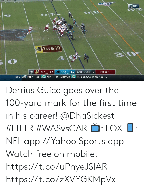 wsh: NFL  75  1ST & 10  4  CAR  (5-6)  15  14 4TH 9:30  WSH  1ST & 10  9  (2-9)  PHI  28  MIA  34 4TH 9:30  NFL  M. GESICKI: 14 YD REC TD Derrius Guice goes over the 100-yard mark for the first time in his career! @DhaSickest #HTTR #WASvsCAR  📺: FOX 📱: NFL app // Yahoo Sports app Watch free on mobile: https://t.co/uPnyeJSIAR https://t.co/zXVYGKMpVx