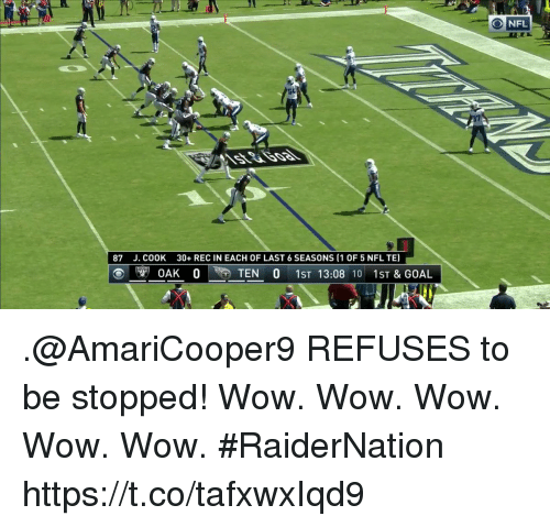 wows: NFL  87  J. COOK  30+ REC IN EACH OF LAST 6 SEASONS (1 OF 5 NFL TE)  ⓔ唵 η OAK 。  TEN O 1ST 13:08 10 1st & GOAL .@AmariCooper9 REFUSES to be stopped!  Wow. Wow. Wow. Wow. Wow. #RaiderNation https://t.co/tafxwxIqd9