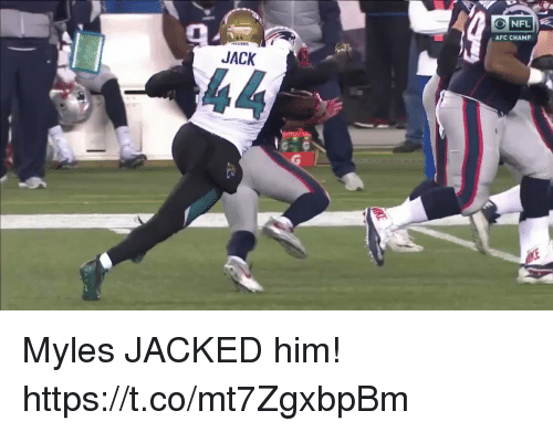 Football, Nfl, and Sports: NFL  AFC CHAMP  JACK Myles JACKED him!   https://t.co/mt7ZgxbpBm