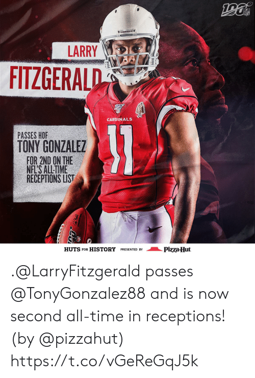 Pizzahut: NFL  CARDINALS  LARRY  FITZGERALD  CARDINALS  31  PASSES HOF  TONY GONZALEZ  FOR 2ND ON THE  NFL'S ALL-TIME  RECEPTIONS LIST  Pizza Hut  HUTS FOR  HISTORY  PRESENTED BY .@LarryFitzgerald passes @TonyGonzalez88 and is now second all-time in receptions! (by @pizzahut) https://t.co/vGeReGqJ5k
