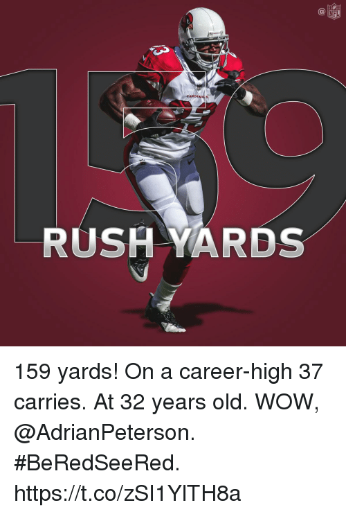 nfl cardinals: NFL  CARDINALS  RUSH YARDS 159 yards! On a career-high 37 carries. At 32 years old.  WOW, @AdrianPeterson. #BeRedSeeRed. https://t.co/zSI1YlTH8a