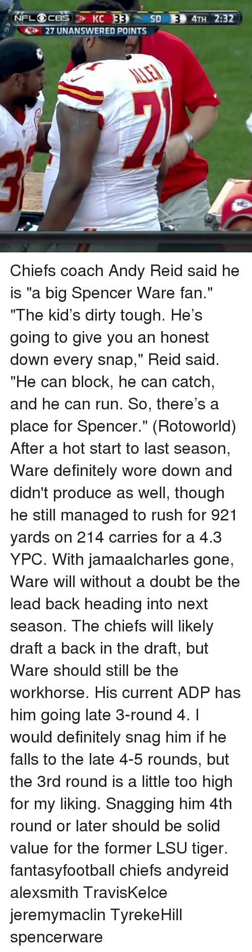 "lsu tigers: NFL CBS KC  EEO  SD LED 4TH 2:32  AS 27 UNANSWERED POINTS Chiefs coach Andy Reid said he is ""a big Spencer Ware fan."" ""The kid's dirty tough. He's going to give you an honest down every snap,"" Reid said. ""He can block, he can catch, and he can run. So, there's a place for Spencer."" (Rotoworld) After a hot start to last season, Ware definitely wore down and didn't produce as well, though he still managed to rush for 921 yards on 214 carries for a 4.3 YPC. With jamaalcharles gone, Ware will without a doubt be the lead back heading into next season. The chiefs will likely draft a back in the draft, but Ware should still be the workhorse. His current ADP has him going late 3-round 4. I would definitely snag him if he falls to the late 4-5 rounds, but the 3rd round is a little too high for my liking. Snagging him 4th round or later should be solid value for the former LSU tiger. fantasyfootball chiefs andyreid alexsmith TravisKelce jeremymaclin TyrekeHill spencerware"