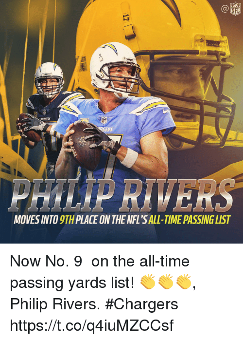 Memes, Nfl, and Chargers: NFL  CUARGERS  MOVES INTO 9TH PLACE ON THE NFL'S ALL-TIME PASSING LIST Now No. 9️⃣ on the all-time passing yards list!   👏👏👏, Philip Rivers. #Chargers https://t.co/q4iuMZCCsf