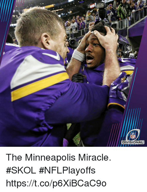 Memes, Nfl, and Minneapolis: NFL  DIVISIONA The Minneapolis Miracle. #SKOL  #NFLPlayoffs https://t.co/p6XiBCaC9o