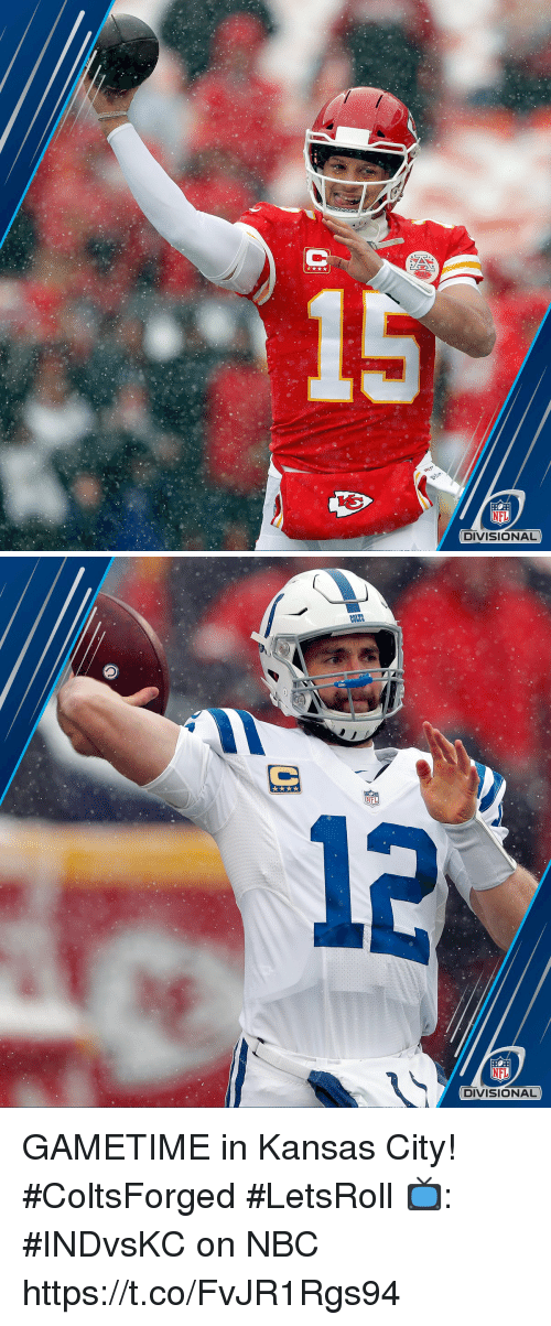 coles: NFL  DIVISIONAL   COLES  NFL  12  NFL  DIVISIONAL GAMETIME in Kansas City! #ColtsForged #LetsRoll  📺: #INDvsKC on NBC https://t.co/FvJR1Rgs94