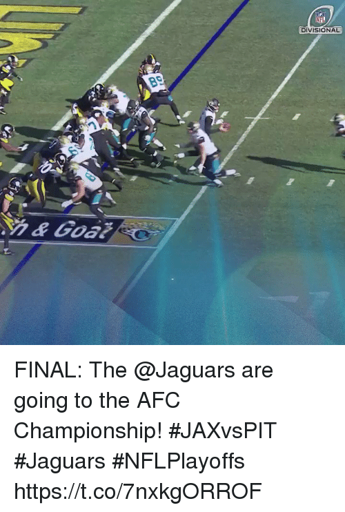 Memes, Nfl, and Afc Championship: NFL  DIVISIONAL FINAL: The @Jaguars are going to the AFC Championship! #JAXvsPIT #Jaguars  #NFLPlayoffs https://t.co/7nxkgORROF