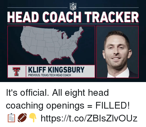 Coaching: NFL  HEAD COACH TRACKER  KLIFF KINGSBURY  PREVIOUS: TEXAS TECH HEAD COACH It's official.   All eight head coaching openings = FILLED! 📋🏈👇 https://t.co/ZBIsZlvOUz
