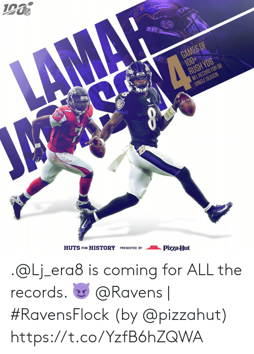 lamar: NFL  LAMAR  GAMES OF  100+  RUSH YDS  NFL RECORD FOR QB  SINGLE SEASON  ম  HUTS FOR HISTORY PRESENTED BY  Pizza-Hut .@Lj_era8 is coming for ALL the records. 😈  @Ravens | #RavensFlock  (by @pizzahut) https://t.co/YzfB6hZQWA