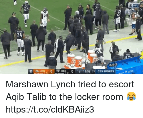 Marshawn Lynch: NFL Marshawn Lynch tried to escort Aqib Talib to the locker room 😂 https://t.co/cldKBAiiz3