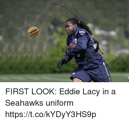 Eddie Lacy, Football, and Nfl: @NFL MEM FIRST LOOK: Eddie Lacy in a Seahawks uniform https://t.co/kYDyY3HS9p