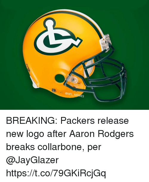 Aaron Rodgers, Football, and Memes: @NFL MEMES BREAKING:  Packers release new logo after Aaron Rodgers breaks collarbone, per @JayGlazer https://t.co/79GKiRcjGq