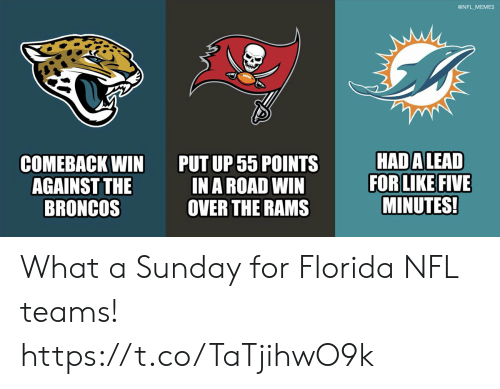 A Sunday: @NFL MEMES  HAD ALEAD  FOR LIKE FIVE  MINUTES!  PUT UP 55 POINTS  IN A ROAD WIN  OVER THE RAMS  СOМЕВАСK WIN  AGAINST THE  BRONCOS What a Sunday for Florida NFL teams! https://t.co/TaTjihwO9k