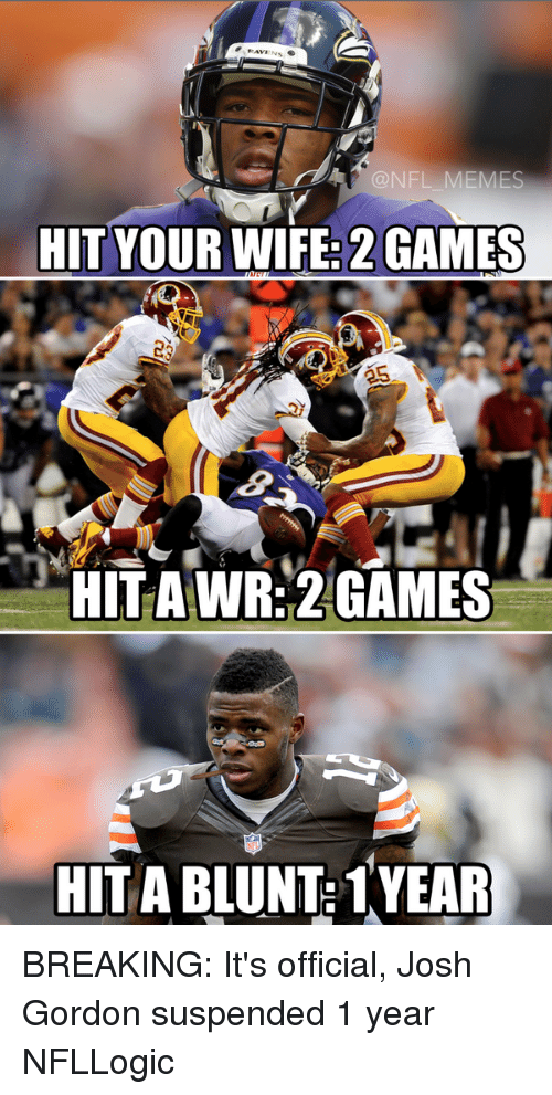 Football, Meme, and Memes: @NFL MEMES  HIT YOUR WIFE: 2 GAMES  HITAWR 2 GAMES  HITABLUNT: 1YEAR BREAKING: It's official, Josh Gordon suspended 1 year NFLLogic