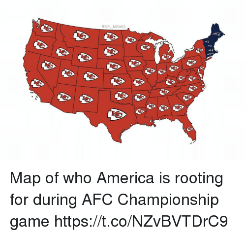 Afc Championship: @NFL MEMES Map of who America is rooting for during AFC Championship game https://t.co/NZvBVTDrC9