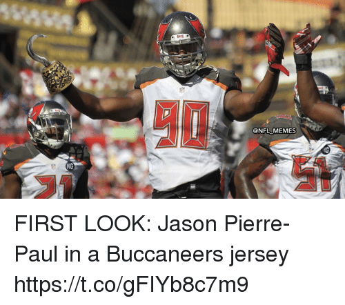 Football, Jason Pierre-Paul, and Memes: @NFL MEMES  MG FIRST LOOK: Jason Pierre-Paul in a Buccaneers jersey https://t.co/gFIYb8c7m9