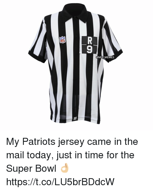 Football, Memes, and Nfl: @NFL MEMES My Patriots jersey came in the mail today, just in time for the Super Bowl 👌🏼 https://t.co/LU5brBDdcW