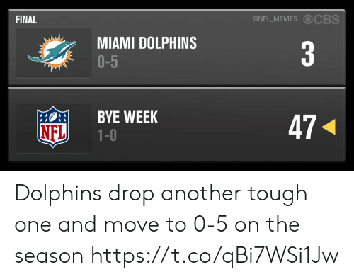 miami: @NFL_MEMES OCBS  FINAL  MIAMI DOLPHINS  O-5  3  BYE WEEK  1-0  47  NFL Dolphins drop another tough one and move to 0-5 on the season https://t.co/qBi7WSi1Jw