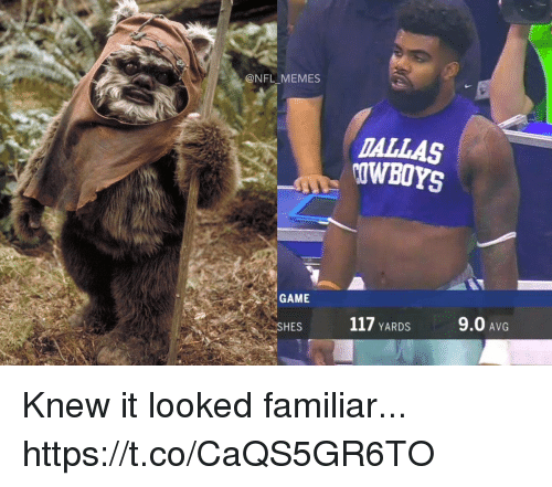 avg: @NFL MEMES  TALLAS  OWBOYS  GAME  HES  117 YARDS  9.0 AvG Knew it looked familiar... https://t.co/CaQS5GR6TO