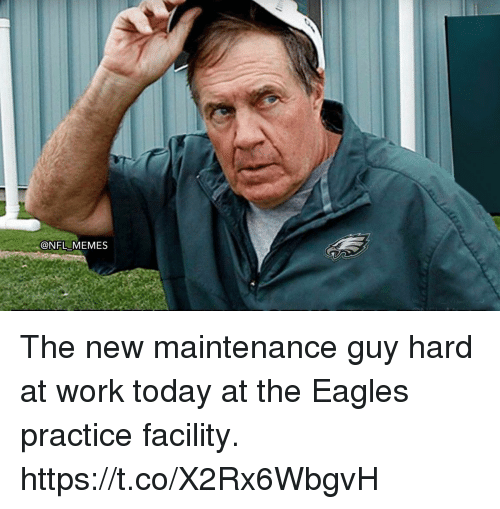 Philadelphia Eagles, Memes, and Nfl: @NFL MEMES The new maintenance guy hard at work today at the Eagles practice facility. https://t.co/X2Rx6WbgvH